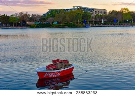 Orlando, Florida . February 26,  2019. Cola Boat And Shamu Stadium At Seaworld Theme Park.
