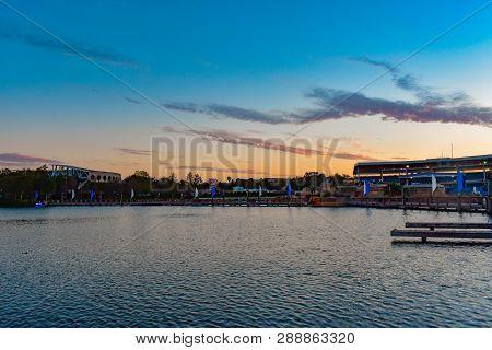 Orlando, Florida . February 26,  2019. Partial View Of Bayside Stadium And Shamu Stadium On Colorful