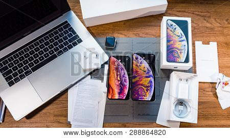 Paris, France - September 21, 2018: Apple Fan Boy Unboxing Latest New Apple Iphone Xs Max And Xs Fla
