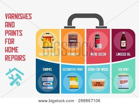 Vanishes And Paints For Home Repairs Flat Vector Banner. Various Wall And Floor Paints Metal Cans, W