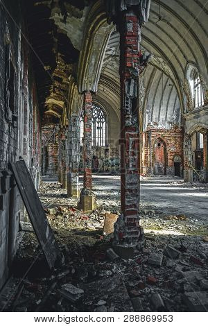 Detroit, Michigan, May 18, 2018: Interior View Of Abandoned And Damaged Church St. Agnes In Detroit.