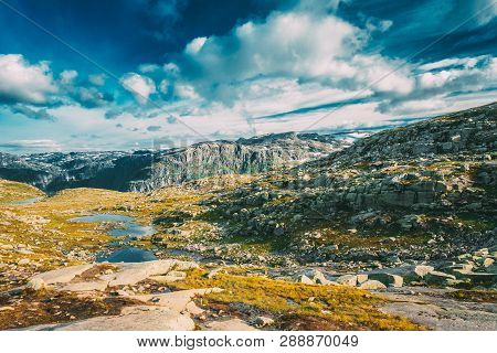 Landscape Of Norwegian Mountains. Nature Of Norway. Travel And Hiking. Amazing Scenic View At Sunny