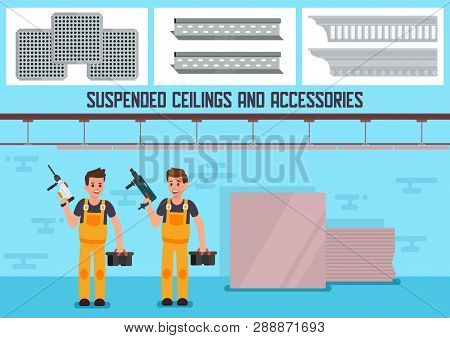 Building Materials And Accessories For Suspended Ceiling Flat Vector Advertising Banner Or Poster Te