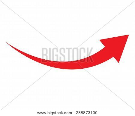 Red Arrow Icon On White Background. Flat Style. Arrow Icon For Your Web Site Design, Logo, App, Ui.