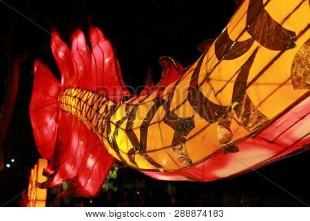 Tail Of Chinese Dragon Lantern Lamp In Loy Kratong Festival, Or Call Yee Peng Festival At Northern O