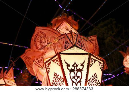 Lanna Lantern Lamp In Loy Kratong Festival, Or Call Yee Peng Festival At Northern Of Thailand.