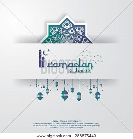Islamic Design Concept. Abstract Mandala With Pattern Ornament And Lantern Element. Ramadan Kareem O