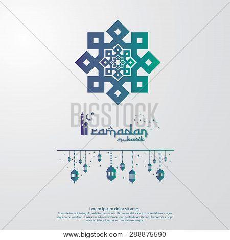 Islamic Design Concept. Abstract Mandala With Pattern Ornament And Lantern Element. Ramadan Kareem O