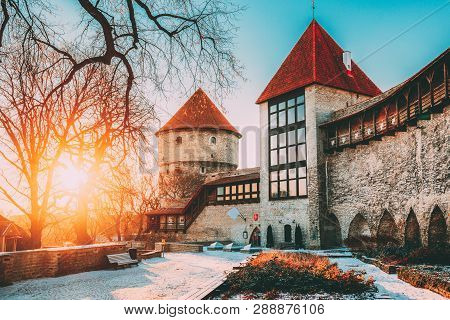 Tallinn, Estonia. The Former Prison Tower Neitsitorn In Old Tallinn. Medieval Maiden Tower At Winter
