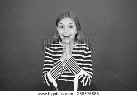 Girl Hopeful Excited Face Making Wish. Believe In Miracle. Child Girl Dreaming Her Wish Come True. M
