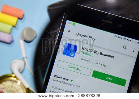 Bekasi, West Java, Indonesia. March 12, 2019 : Google My Business Dev App With Magnifying On Smartph