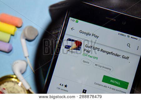 Bekasi, West Java, Indonesia. March 12, 2019 : Golf Gps Rangefinder: Golf Pad Dev App With Magnifyin