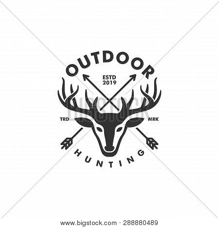 Deer Hunting Concept Illustration Vector Template. Suitable For Creative Industry, Multimedia, Enter