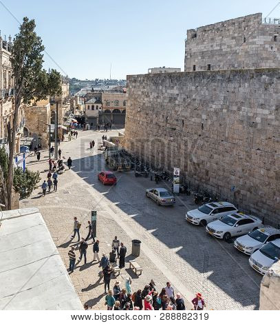 Jerusalem, Israel, March 09, 2019 : View From The City Wall To Omar Ben El-hatab Leading From The Ja