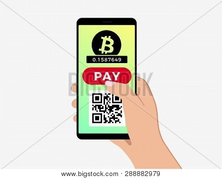 Bitcoin Mobile Payment Concept. Mobile Cryptocurrency With Blockchain Integration. Bitcoin Payment,