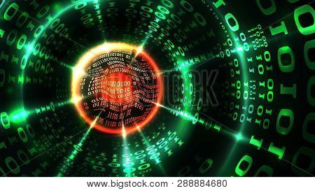 Abstract Computer Data Background Matrix Binary Code, Data Stream, Abstract Firewall. Hacking Comput