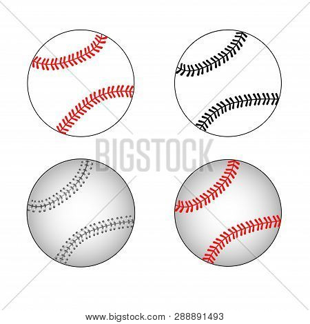 Isolated Baseball Set. Baseball Balls. Baseball Elements. Flat Design.