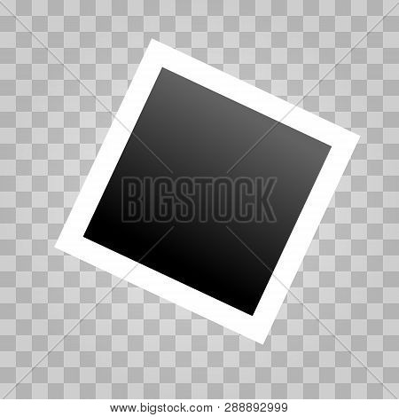 Square Realistic Polaroid Frame Template With Shadows Isolated On Transparent Background. Polaroid V