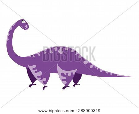 Cute Purple Dinosaur. Cartoon Dino. Vector Illustration. Brachiosaurus
