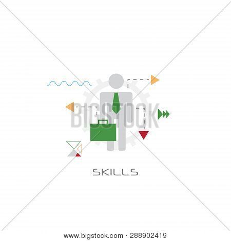 Businessperson Leadership Knowledge Creative Idea Skills Concept Successful Worker Line Style White