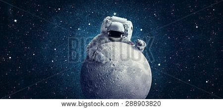 Astronaut In Outer Space. Conceptual Image. Elements Of This Image Furnished By Nasa