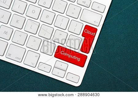 Computer Keyboard With Word Cloud Computing. Cloud Computing Text On A Key On A Computer Keyboard Co