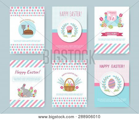 Set Of Easter Greeting Cards. Cute Happy Easter Templates With Eggs, Flowers, Willow, Rabbit And Typ