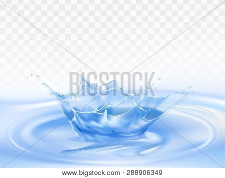 Splash Of Pure Blue Water 3d Realistic Vector Isolated On Transparent Background. Liquid Crown, Froz