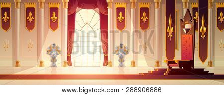 Medieval Castle Spacious Throne Hall Or Ballroom Interior Cartoon Vector. Red Carpet Path To Kings T