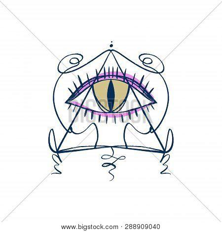 Hand Drawn Eye Of Providence Stylized Symbol. Triangle Pyramid. Boho Alchemy Symbol Tattoo Or Sticke