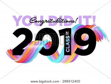 Congratulations Graduates Class Of 2019 Vector Logo. Graduation Background Template. Greeting Banner