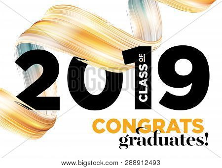 Congratulations Graduates Class Of 2019 Vector Logo. Graduation Background Template. Greeting Banner