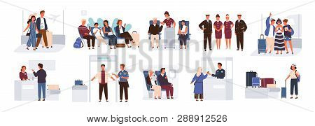 Bundle Of Scenes With Tourists Or Aircraft Passengers. Friends, Families With Children, Couples At C