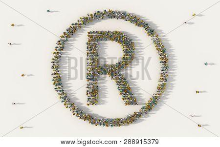 Large Group Of People Forming R Logo Or Register Trademark Symbol Symbol In Social Media And Communi