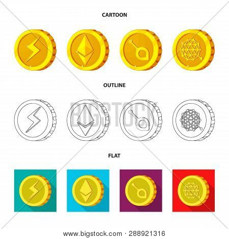 Vector Illustration Of Cryptocurrency And Coin Icon. Set Of Cryptocurrency And Crypto Stock Symbol F