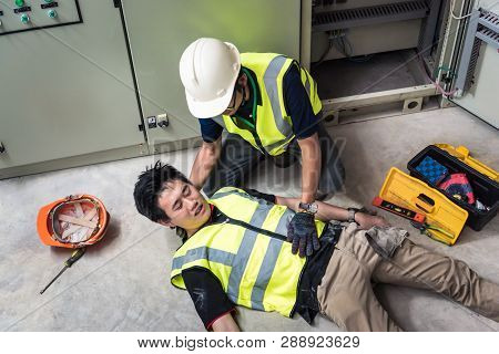 Support Allows Patient, Life-saving And Rescue Methods. Accident At Work Of Electrician Job Or Maint