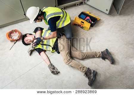 Check Response, Life-saving And Rescue Methods. Accident At Work Of Electrician Job Or Maintenance W