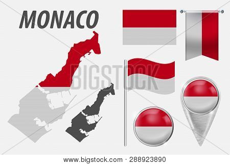 Monaco. Collection Of Symbols In Colors National Flag On Various Objects Isolated On White Backgroun