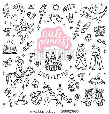 Cute Fairy Tale And Magic Objects. Hand-drawn Cartoon Elements Isolated On White Background. Doodle