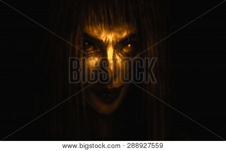 Pretty Face Of Scarred Girl Appears From Darkness And Smiles. Illustration In Genre Of Fantasy. Oran