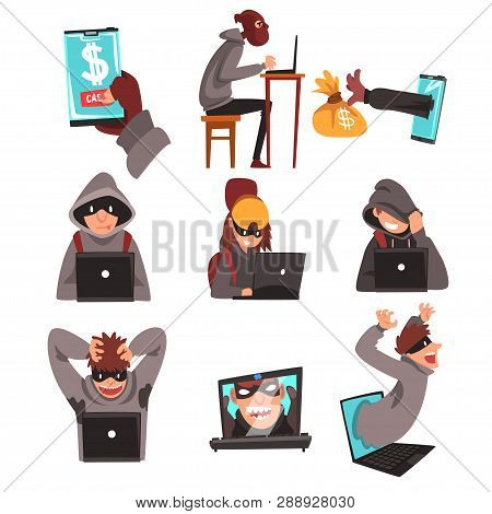 Hackers In Disguise Stealing Information And Money Using Laptop Set, Internet Crime, Computer Securi