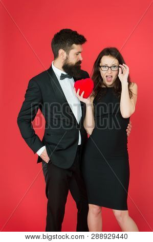 Do Not Play With My Heart. Man With Beard And Woman Happy Celebrate Anniversary. Couple In Love Dati
