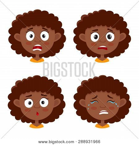 Set Of African Girl Scared Face Expression Isolated On White