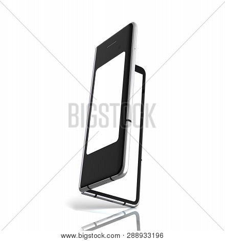First Serial Flexible Phone 3d Render On White Background