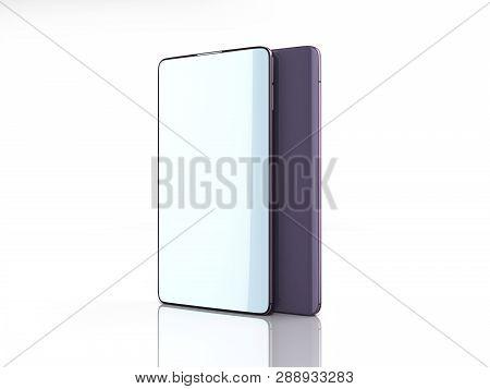 Modern Full Screen Smart Phones 3d Render On White