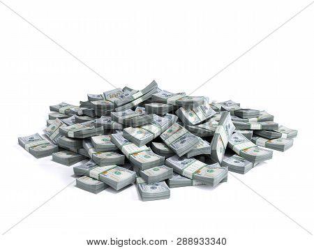 Money Pile Of Packs Of Hundred Dollar Bills Stacks 3d Render On White