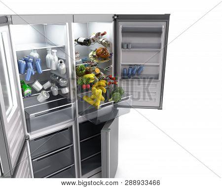 Open Stainless Steel Modern Refrigerator On White 3d Illustration