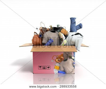 Concept Of Product Categories Clothing And Accessories  In The Box On White Background