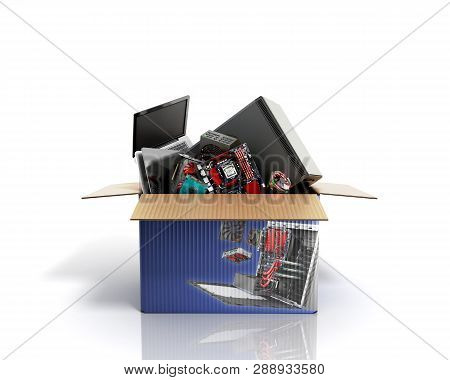 Concept Of Product Categories Computers And Accessories Crashes Out Of The Box 3d Render On White