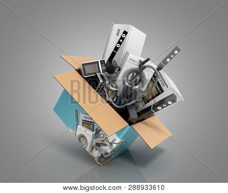 Concept Of Product Categories Large Household Appliances Crashes Out Of The Box 3d Render On Grey
